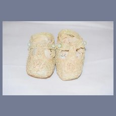 Old Doll Crochet Lace Doll Shoes Buttons