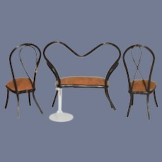Thonet Style Bentwood Dollhouse Sette and Two Chairs