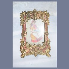 Antique Ornate Metal Frame W/ Old Glass and Victorian Girl Petite Size