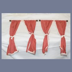 Doll Dollhouse Curtains Larger Scale Plaid W/ Wood Rods