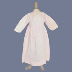 Old Pink Striped Cotton Doll Dress W/ High Waist