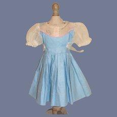 Vintage Doll Dress Sweet Puckered Sleeves W/ Sash