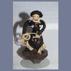 Old Cloth Doll Cowboy Cowgirl Miniature W/ Ropes Dollhouse
