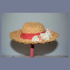 Vintage Straw Doll Bonnet Hat W. Wide Brim Flowers Bow