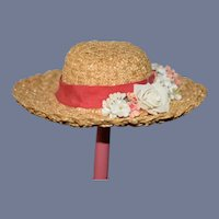 Vintage Straw Doll Bonnet Hat W. Wide Brim Flowers Bow