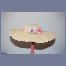 Vintage Doll Straw Wide Brim Bonnet Doll Hat