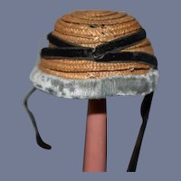 Sweet Petite Straw Doll Bonnet W/ Velvet Trim W/ Ties