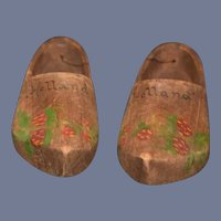 Old Petite Wood Hand Painted Doll Clogs