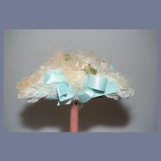 Vintage Doll Bonnet Hat Fancy Lace Flowers Bows French Market