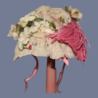 Old Doll Sweet Lace Bonnet Hat Feathers Flowers French Market