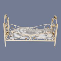 Old Wrought Iron Doll Bed Miniature Fashion Doll Size Ornate Petite