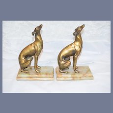 Wonderful Art Deco Whippet Dog Bronze On Marble Bookends Gorgeous
