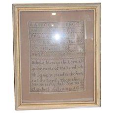Antique Signed Sampler 1880 Wonderful Framed