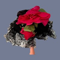 Vintage Black Lace Straw Hat With Pink Flowers 12 inch circumference