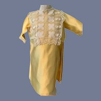 Vintage Beautiful Yellow Satin Long Sleeve Doll Dress 18.5 inches