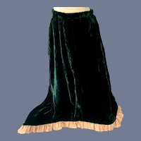 Vintage Long Green Velvet Fashion Doll Skirt with Pink Trim - 17 inches