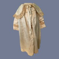 Antique Cream Silk Embroidered Doll Coat 22.5 inches