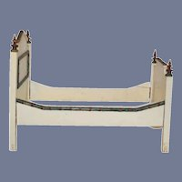 Antique Wood Doll Bed Folk Art Painted