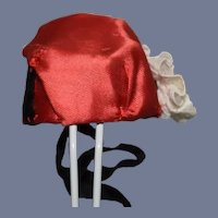 Miniature Red Silk Doll Hat 4 inch circumference
