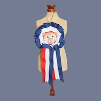 Vintage Miniature White Bear Head Ribbon Award