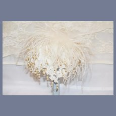 Beautiful White Feather And Lace Doll Hat Bonnet Hat Topper