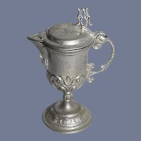 Vintage White Soft Metal Miniature Wine Pitcher 2 & 1/4 inches