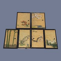 Vintage Hand Painted Panel Miniature Boards 4 & 1/2 inches Six Panels