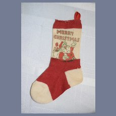Vintage Miniature Red And White Christmas Stocking Dollhouse Doll