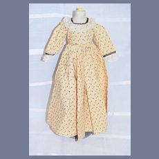 Vintage Yellow And Brown Long Sleeve Doll Dress 14 inches