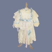 Vintage French Market Drop Waist Beautiful White Lace Doll Dress with Blue Ribbons and Pink accents 15 inches