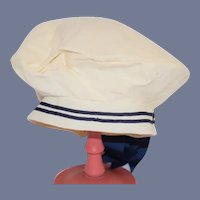 Vintage White And Navy Blue Doll Sailor Hat 19 inch circumference