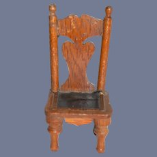 Vintage Oak Wood Doll Chair 4.5 inches