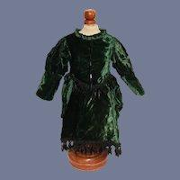 Vintage Wonderful & Beautiful Green Velvet & Jet Black Glass Beaded Doll Dress 13 inches