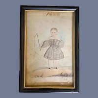 Antique Water Color Folk Art Painting Boy Fishing Wonderful Child