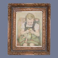 Antique Painting Girl W/ Doll Oil Painting on Canvas