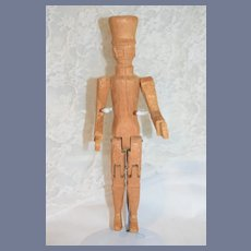 Wonderful Carved Wood Soldier Doll Jointed Unique