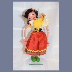 Vintage Wooden Wood Girl Doll Puppet Marionette