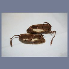 Antique Miniature Brown Leather Doll Shoes 2 1/4 inches