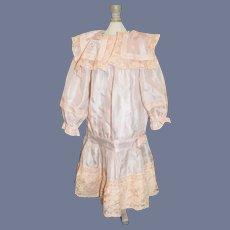 Beautiful French Market Drop Waist Flap Collar Pink Silk Doll Dress 16 inches