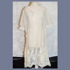 Vintage White Lace Doll Dress 21 inches