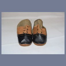3 inch Black Leather and Brown Doll Shoes