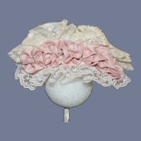Vintage Pink Silk And White Lace Doll Hat Topper Bonnet 8 inches