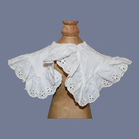 Antique Beautiful White Eyelet Doll Collar for 26 inch doll