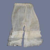Vintage White Doll Pants Pantaloons 7.5 inches