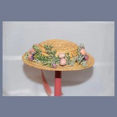 Vintage Doll Straw Bonnet W/ Flowers and Bow Doll Hat
