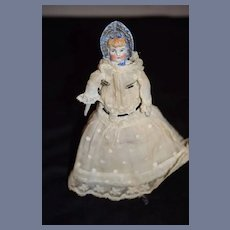 Antique Miniature Bonnet Head China Head Doll Sweet Dollhouse