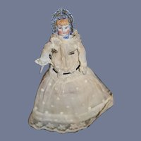 Antique Miniature Bonnet Head China Head Doll Sweet Dollhouse