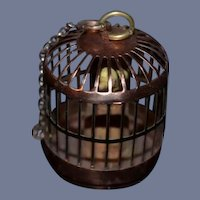 Vintage Miniature Copper Birdcage with Yellow Bird
