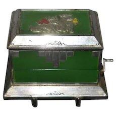 Vintage Art Deco Scottie Dog Motif Metal Mechanical Cigarette Dispenser / Box