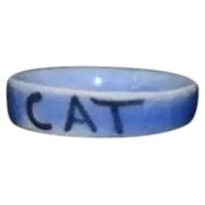 Vintage Artist signed KLL Miniature Ceramic Blue Cat Bowl 3/4 inch